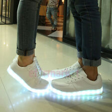 Unisex Luminous LED Light Shoes Men Women USB Lace up Casual SNEAKERS in Stock UK 4 Eur35 White
