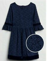 GAP Kids NEW Girls Size SMALL (6-7) Lace Bell Sleeve Navy Dress