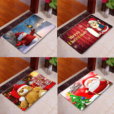 Christmas Pattern Soft Flannel Door Bath Mat Bathroom Floor Rug Anti-skid Carpet
