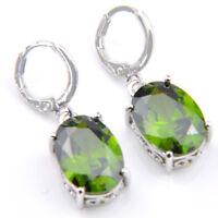 Elegant Jewelry Gift Oval Olive Peridot Gemstone Silver Dangle Hook Earrings