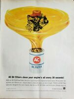 Lot of 3 Vintage 1966 AC Oil Filter Ads Cleans Every 30 Seconds