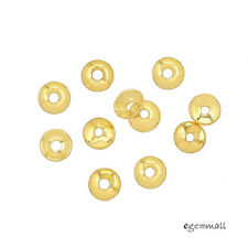 40 Gold Plated Sterling Silver Simplicity Bead Cap 3mm #99204