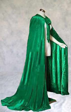 Green Velvet Cloak Lined Cape Men Hooded XL Victorian Renfaire Capelet Medieval