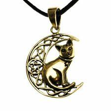 Bronze Cat Moon Pentagram Star Pendant Cord Necklace by Lisa Parker