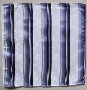 Handkerchief MENS Top Pocket Hankie PURPLE WHITE FLORAL STRIPED 25cm X 25cm NEW