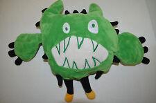 "Green Plush Monster White Teeth Velour Soft Stuffed Animal Toy 12"""