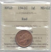 **1941c**, ICCS Graded, Newfoundland Small One Cent, **MS-62**