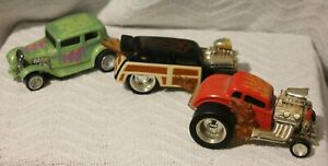 LOT OF 3 Scale 1/32 Mattel Hot Wheels Hot Rod Vintage (1988 & 1998) Diecast Cars