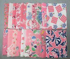 "20 Vintage 5"" X 8"" Pink Feedsack Pieces Quilt Fabric Charms Flour Sacks"