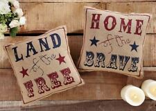 """America Tribute Red & Blue Land of the Free Natural Burlap 2 Pillow Set 12"""" Each"""