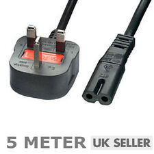 Figure of 8 Mains Cable Power UK Lead Plug Cord Fig IEC C7 Laptop PS4 SKY 5M