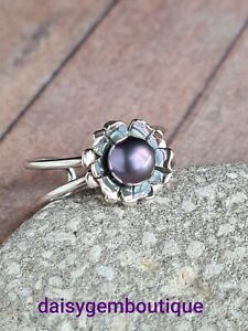 Sterling Silver Pearl Ring - Peacock Pearl Ring - Flower Ring - Unique Ring - Ad
