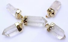 5 Gold Plated Quartz Crystal Point Pendants Bulk Wholesale Lot Crystal Healing