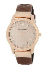 KARL LAGERFELD KL3803 ROSE GOLD GLITZ DIAL LEATHER BAND STUD LEATHER WATCH