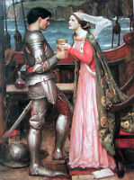"""Oil painting Waterhouse - Tristram and Isolde Young woman and Warrior canvas 36"""""""