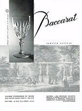 PUBLICITE ADVERTISING   1959   BACCARAT  cristal verres service AUTEUIL