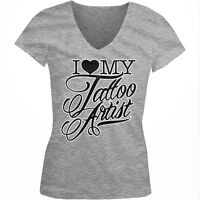 I Love My Tattoo Artist - Heart Tat Ink Body Art Girls Junior V-Neck T-Shirt