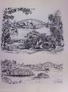 Vintage Original Cedric Emanuel Print 1970 - Sydney Opera House & Darling Point.