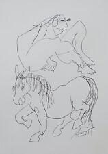 Zeichnung mit Pferd Max Müller Kunstakademie Düsseldorf Tusche Unikat auf Papier