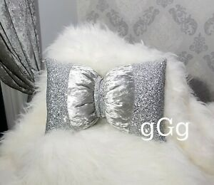 Bow Cushion. Silver. Glitter. Crushed velvet. 16 x 10 inches. Glitz.