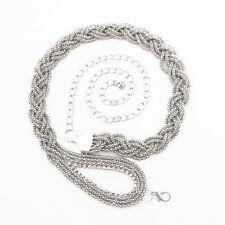 donna argento strass cintura vita catena strass diamanti fibbia 044