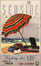 Vintage Travel Poster Seaside Travel by Train Australia 37.4 x 24 inch