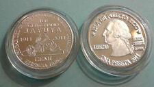 Silver PESETA 100Años JAYUYA 2010 Puerto Rico Boricua Quarter LETRA GRUESA plata