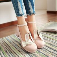 Cute Mary Jane Block Heels Rabbit Ankle Strap Buckle Womens Party Shoes Size