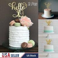 2Pcs Gold Happy 30th/40/50/60 Birthday Wedding Party Cake Topper Flag Decoration