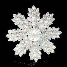 Xmas Wedding Bridal Pin Brooch w Swarovski Crystal ~Snowflake~ starburst Holiday