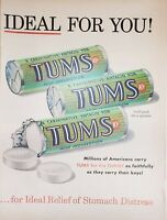 Lot 2 Vintage TUMS Antacid Advertisements Ideal for You! Heartburn Relief