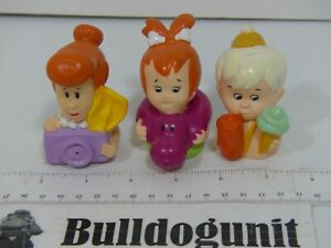 Vintage 1991 Lot 2 Flintstones Water Squirters Figure Denny's Kids Toy Pebbles