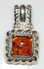 THAILAND 925 STERLING SILVER BALTIC HONEY AMBER SQUARE PENDANT *9.2 GR PT3