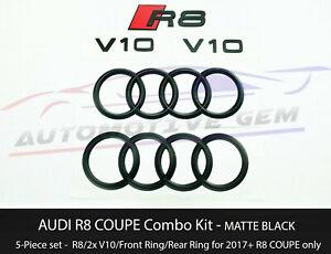 AUDI R8 Emblem MATTE BLACK Hood Trunk Ring V10 Sign Logo Badge Set 2017+ Coupe