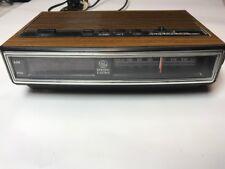 General Electric Clock Radio alarm Vintage Model 7-4625C walnut grain finish