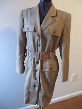 ESCADA Magaretha Ley  wool  striped belted button up dress size EU38 browns
