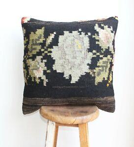 "Handmade Carpet PILLOW CUSHION COVER - Caucasian Tribal Decorative Pillow 18"""
