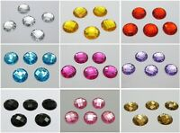 100 Flatback Acrylic Faceted Round Sewing Rhinestone Gems 16mm Sew on beads