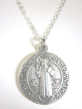 "Large St Benedict Round Jubilee Medal 1 1/4"" Italy Pendant Necklace 20"" Chain"