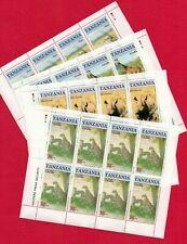 ZAYIX - Tanzania set of mini-sheets of 8 MNH - 4 Sheets - Wildlife!