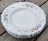 """(7) Arcopal France 'Victoria' 9"""" Floral Wide Rim Soup Bowls Scallop Edge"""