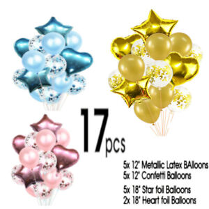17pcs/set Wedding Birthday Balloons Latex Foil Ballons Kids Boy Girl Baby Party