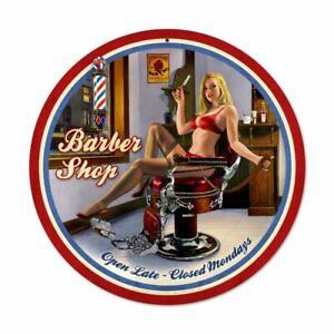 "Barber Shop Décor Open Late Hot Chick NEW Metal Sign 28"" Diameter AMERICAN STEEL"