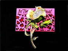 Flower Charm Woman Brooch Pin Betsey Johnson Green Enamel Crystal Lovely