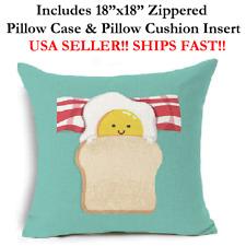 """18x18 18"""" BREAKFAST BACON EGG SANDWICH SLEEPOVER Throw Pillow Case & Cushion"""