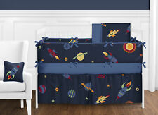 Sweet Jojo Designs Navy Blue Outer Space Stars Planets Baby Boy Bedding Crib Set