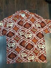 Big Dogs Hawaiian Red Play to Win Casino Theme Button Up  2X XXL EUC Poker Chips