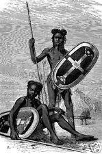 Azande zande niam nyam GUERRIERI Africa centrale Congo Sudan 1874, 7x5 pollici stampa