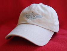 USAF SENIOR NAVIGATOR Silver Wings BALL CAP low-profile AVIATOR hat - stone/tan