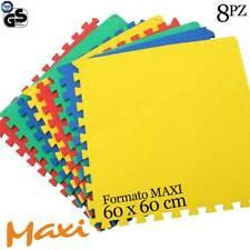 Tappeto Puzzle Maxi Colorati Gioco Bambino Set 8pz 60x60cm EVA Tappetino 126x246